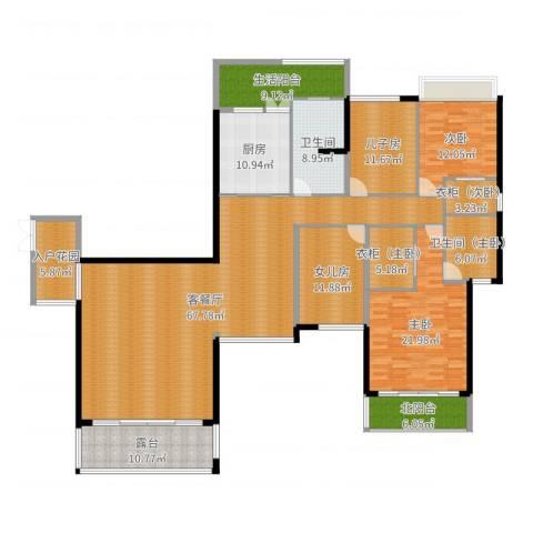 嘉信城市花园五期2室2厅1卫1厨239.00㎡户型图