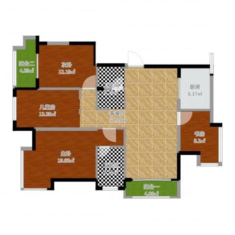 长城逸府58号901室3室2厅1卫1厨140.00㎡户型图