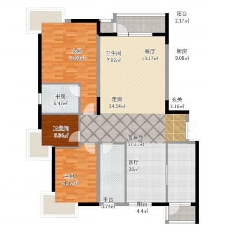 中央复兴里3室2厅2卫1厨178.00㎡户型图