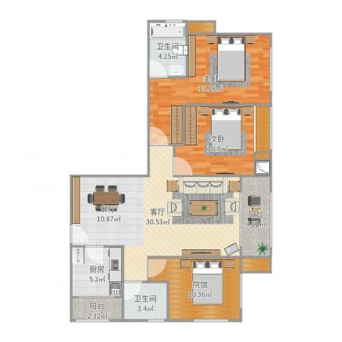 泽胜中央广场双子塔2室1厅2卫1厨115.00㎡户型图