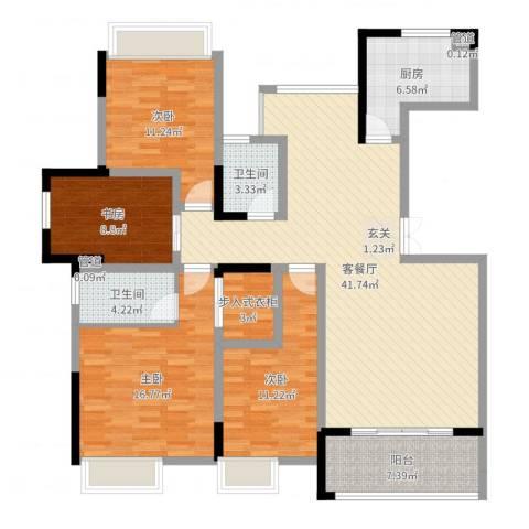 五洲龙湾4室2厅2卫1厨143.00㎡户型图