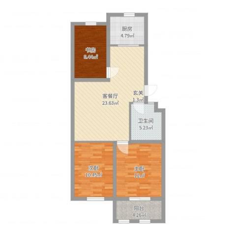 凤鸣郡和墅3室2厅1卫1厨86.00㎡户型图