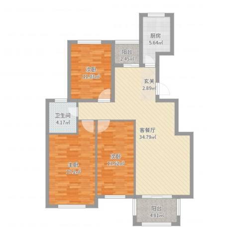 丰县翡翠城3室2厅1卫1厨117.00㎡户型图