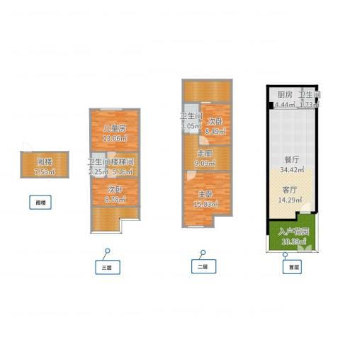 祈福新村A区4室1厅3卫1厨171.00㎡户型图