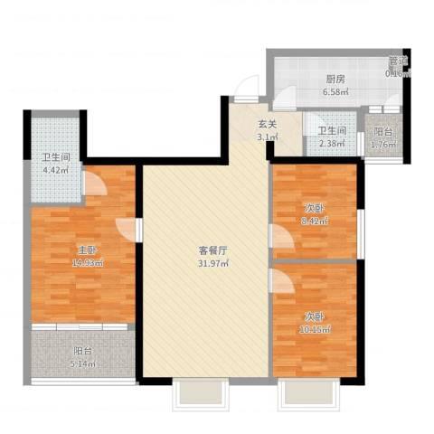万寿新城3室2厅2卫1厨107.00㎡户型图