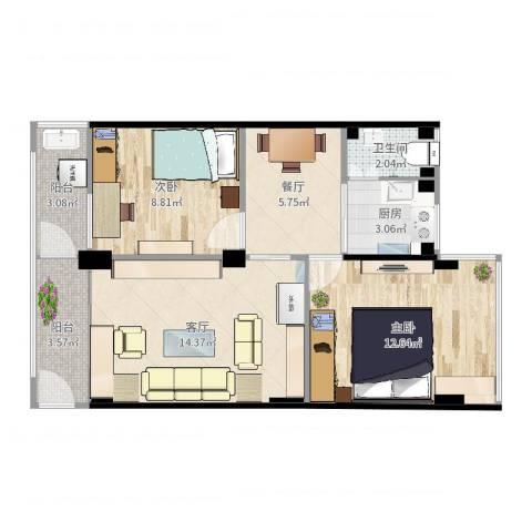 西秀园2室2厅1卫1厨67.00㎡户型图