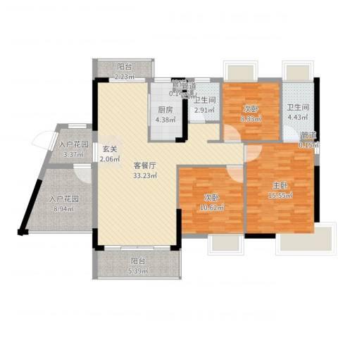 富盈都市华府3室2厅2卫1厨125.00㎡户型图