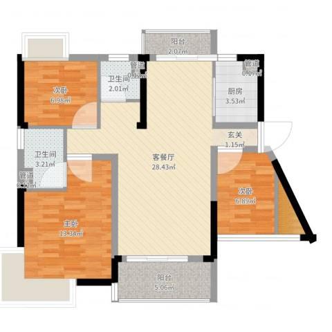 富盈都市华府3室2厅2卫1厨91.00㎡户型图