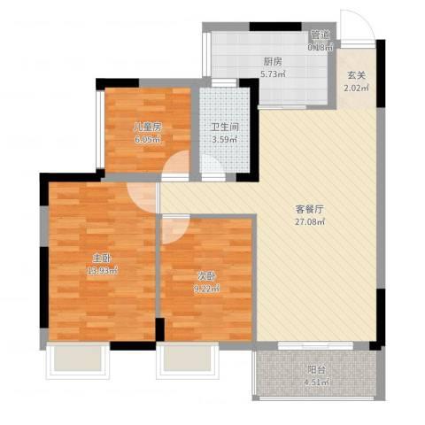 富盈都市华府3室2厅1卫1厨88.00㎡户型图