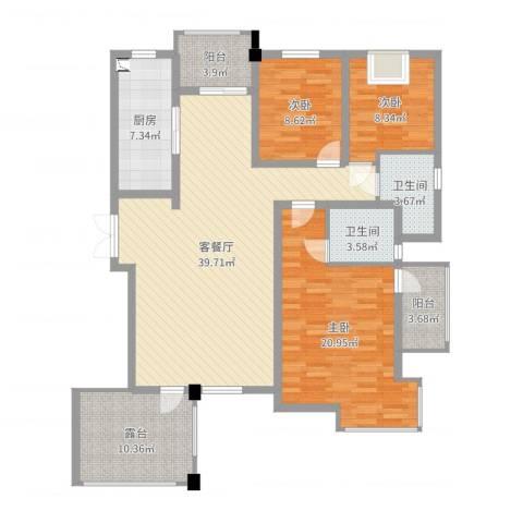 栾城天山水榭花都3室2厅2卫1厨138.00㎡户型图