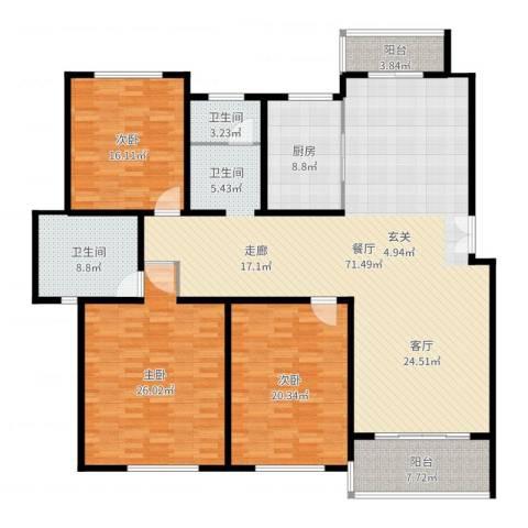 贝越流明新苑3室1厅2卫1厨208.00㎡户型图