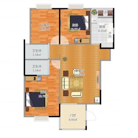 富山・东城海岸3室2厅2卫1厨106.00㎡户型图