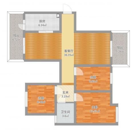 东方玉园122户型3室2厅1卫1厨110.00㎡户型图