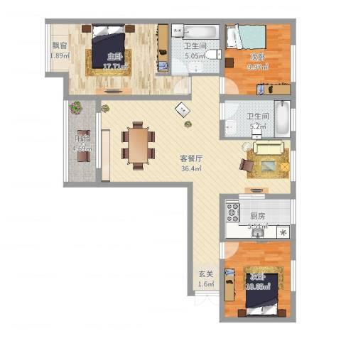 鑫和银座3室2厅2卫1厨119.00㎡户型图
