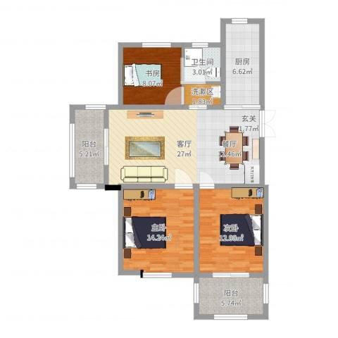 德惠尚书房3室1厅1卫1厨106.00㎡户型图