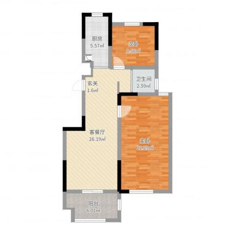 德惠尚书房2室2厅1卫1厨89.00㎡户型图