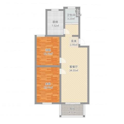 太湖惠泉花园二期2室2厅1卫1厨99.00㎡户型图