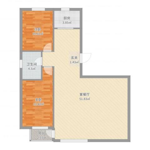 金御蓝湾2室2厅1卫1厨108.00㎡户型图