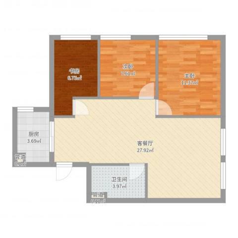 蜂巢3室2厅1卫1厨77.00㎡户型图