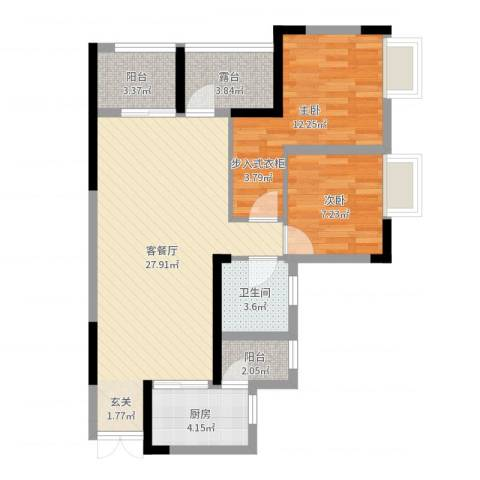 合川北城华府2室2厅1卫1厨80.00㎡户型图