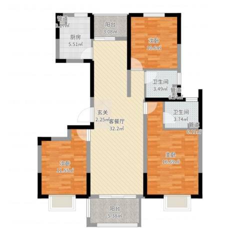 万锦豪庭3室2厅2卫1厨116.00㎡户型图