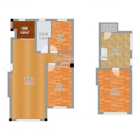 全统西山丽水4室2厅2卫1厨132.00㎡户型图