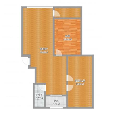 金鼎滨河花园2-2-702西户1室2厅1卫1厨108.00㎡户型图