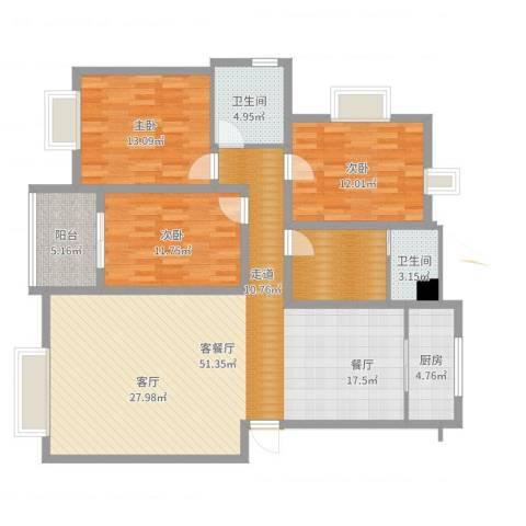 山水人家3室2厅2卫1厨140.00㎡户型图