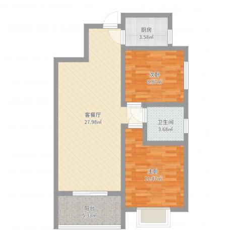 碧玺华庭2室2厅1卫1厨76.00㎡户型图