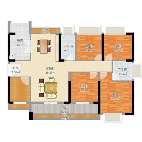 中洲天御4室2厅2卫1厨145.00㎡户型图