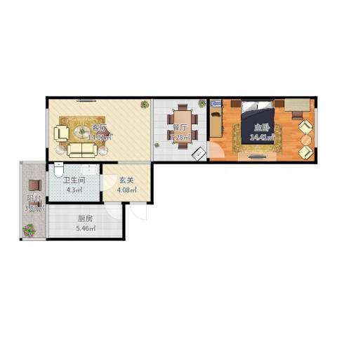 开发里10-7111室2厅1卫1厨67.00㎡户型图