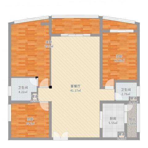 宝安滨海豪庭3室2厅2卫1厨132.00㎡户型图