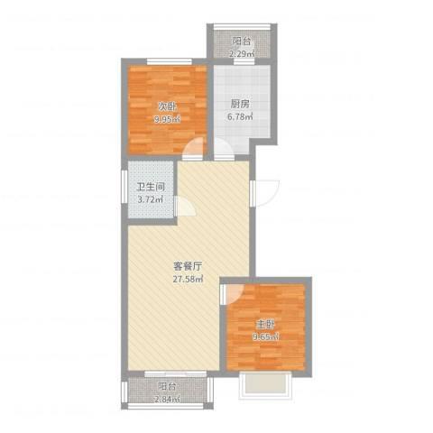 壹克拉公馆2室2厅1卫1厨78.00㎡户型图