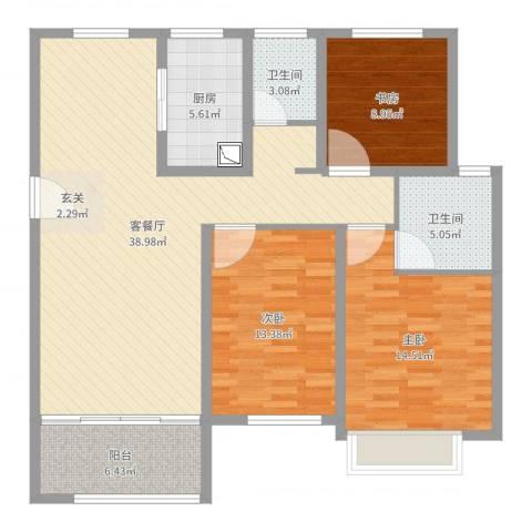 鲁商中心3室2厅2卫1厨120.00㎡户型图