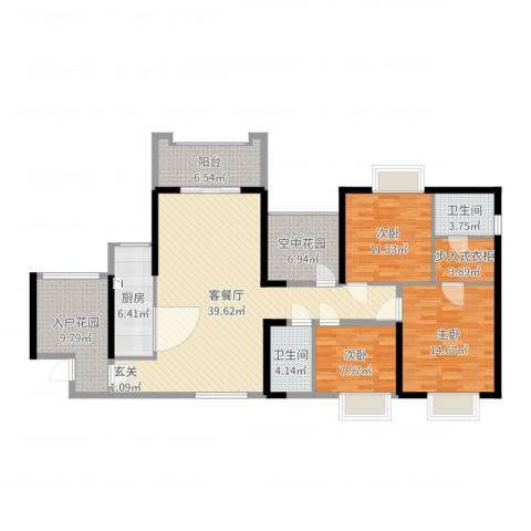 天湖御林湾3室2厅2卫1厨144.00㎡户型图