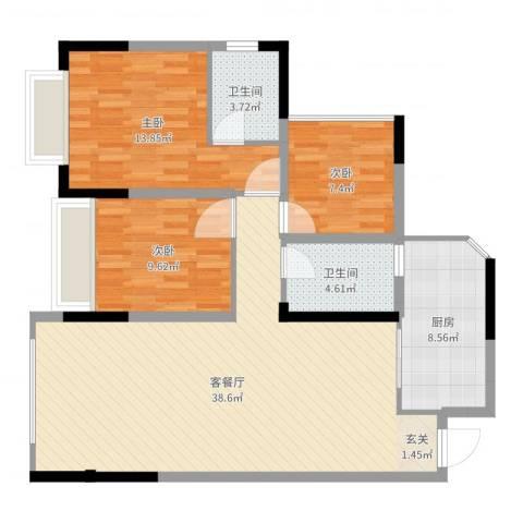 前卫江畔3室2厅2卫1厨108.00㎡户型图