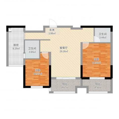 常熟新世纪花苑三期2室2厅2卫1厨98.00㎡户型图