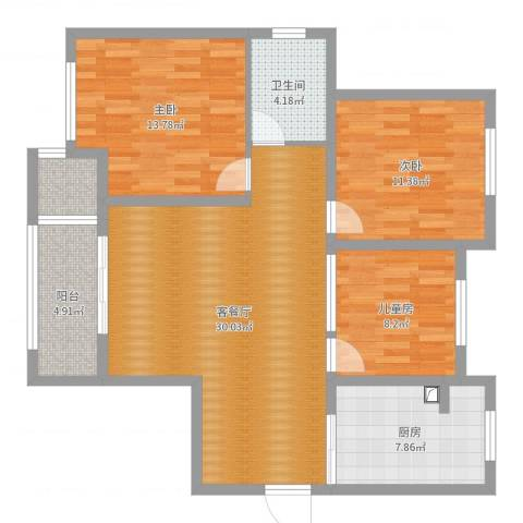 农房・名宿华府3室2厅1卫1厨103.00㎡户型图