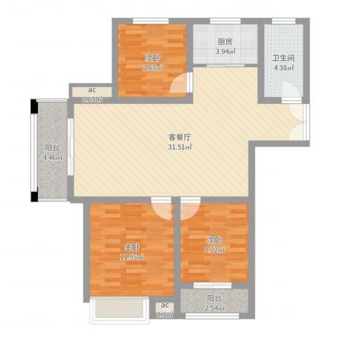 银泰花园3室2厅1卫1厨95.00㎡户型图
