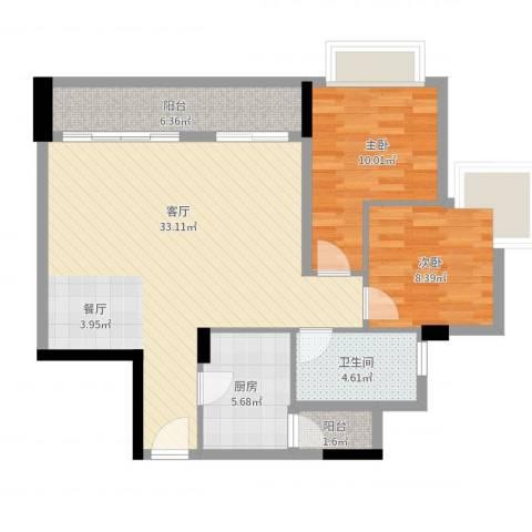 城东名门2室1厅1卫1厨87.00㎡户型图