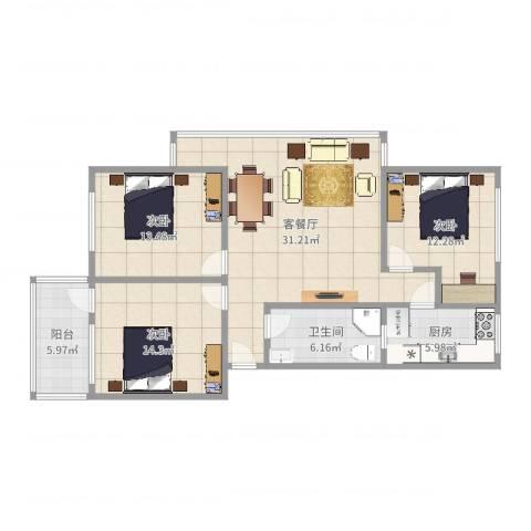 东华苑3室2厅1卫1厨112.00㎡户型图