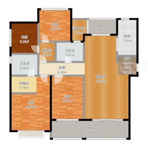 龙湖时代天街4室2厅2卫1厨196.00㎡户型图