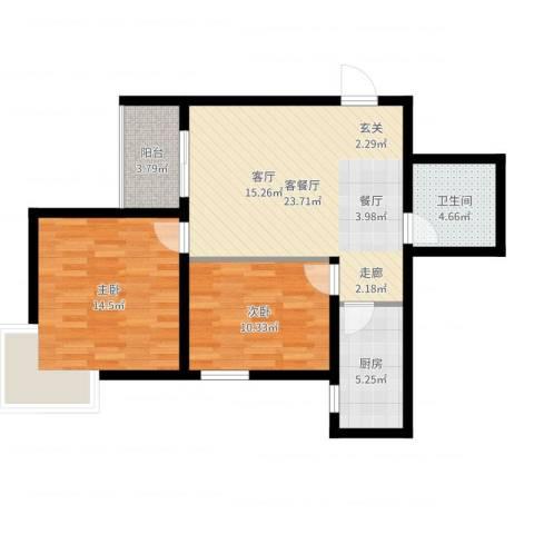 曲江上郡2室2厅1卫1厨78.00㎡户型图
