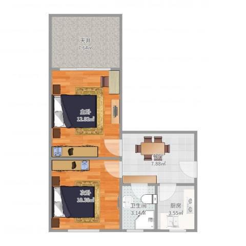师大新村(徐汇)2室1厅1卫1厨57.00㎡户型图