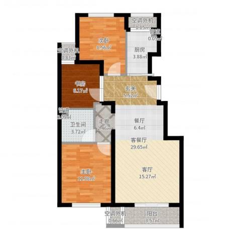 首开・缇香郡3室2厅1卫1厨87.00㎡户型图