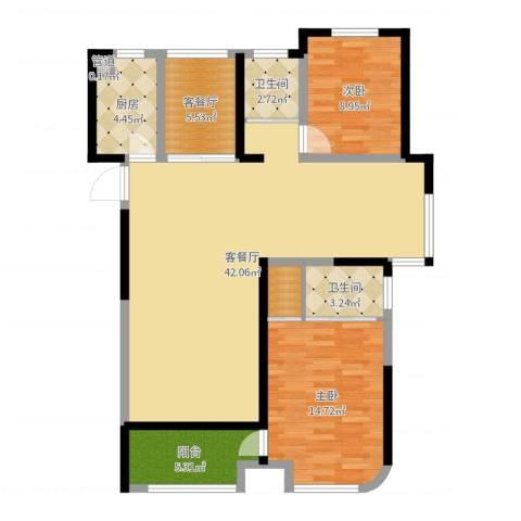 昆山颐景园2室4厅2卫1厨111.00㎡户型图