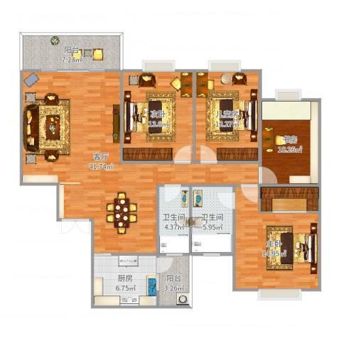 天府名居4室1厅2卫1厨154.00㎡户型图