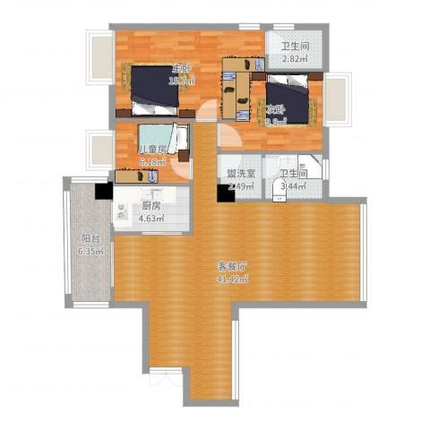颐和山庄3室4厅2卫1厨116.00㎡户型图