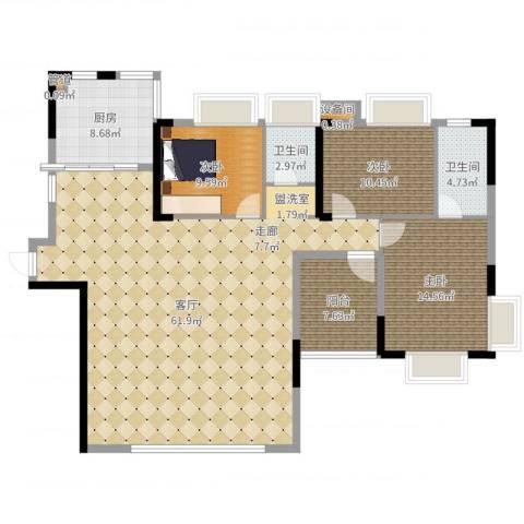 路福江韵华府3室1厅2卫1厨151.00㎡户型图