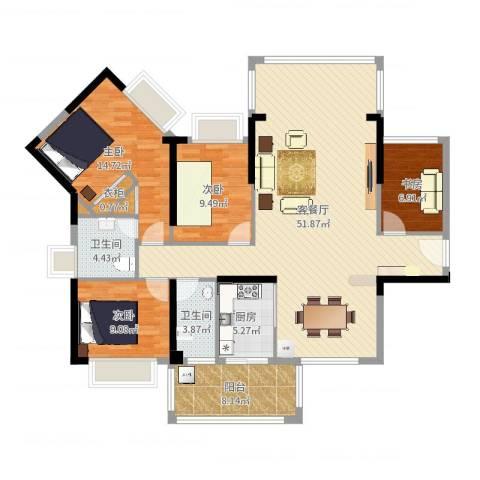 盛泰君和园4室2厅2卫1厨144.00㎡户型图
